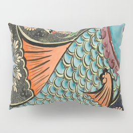 bohemian folk art orange aqua blue japanese good luck koi fish Pillow Sham