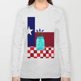Texas Flag and Blue Bonnets Long Sleeve T-shirt