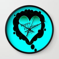 valentines Wall Clocks featuring Valentines 1 by Robin Curtiss