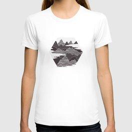 Mountain Peaks Digital Art T-shirt