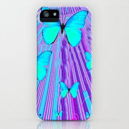 MIGRATING NEON BLUE BUTTERFLIES & PURPLE  ART iPhone Case