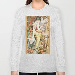 """Alphonse Mucha """"Cognac Bisquit"""" Long Sleeve T-shirt"""
