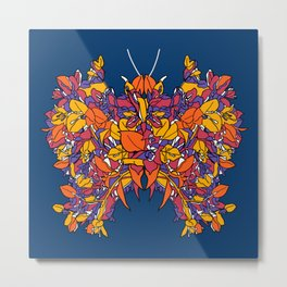 Classic exotic floral butterfly illustration design Metal Print