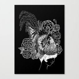 Rooster&Camellia Hat, White on Black Canvas Print