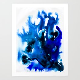Paint 8 abstract indigo watercolor painting minimal modern canvas art affordable home decor trendy Art Print
