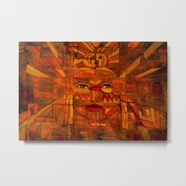 Indigenous Inca Sun God Inti portrait painting by Ortega Maila Metal Print