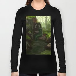 Water nymph by the waterfall Long Sleeve T-shirt