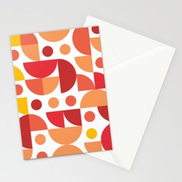Funky Retro Pattern warm colours Stationery Cards