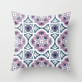 Purple and Navy Spanish Tiles Throw Pillow