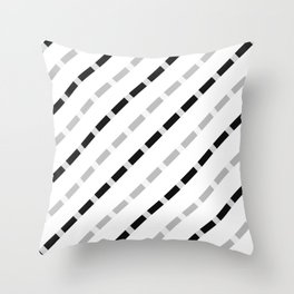 black white gray stripes dashed lines abstract 3d geometric Throw Pillow