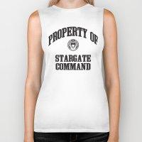 stargate Biker Tanks featuring Property of Stargate Command Athletic Wear Black ink by RockatemanDesigns