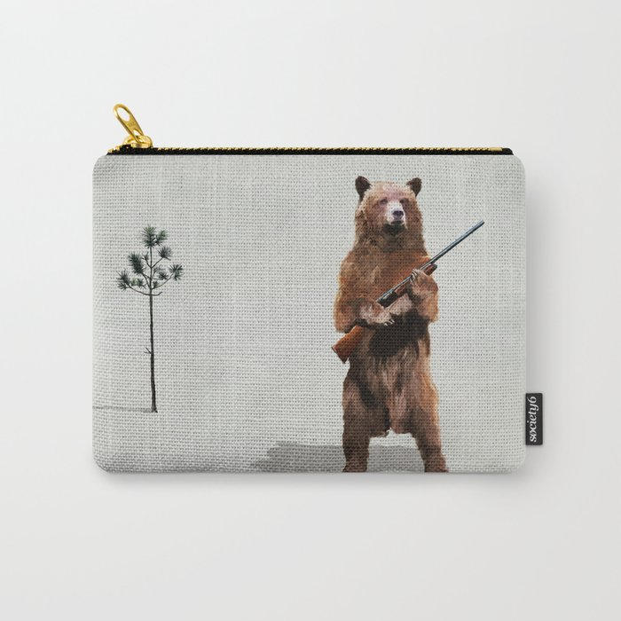 Bear with a shotgun Carry-All Pouch
