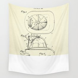 Firemans Helmet Patent Print - 1932 Wall Tapestry
