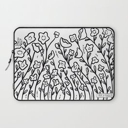 Poppies and Butterflies black & white Laptop Sleeve