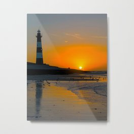 Lighttower at the Beach in Sunset Metal Print