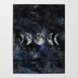 Moon Child Luna Watercolor Poster