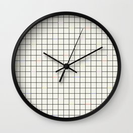 Minimalist Black and Off-White Grid with Color Accents Wall Clock