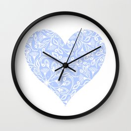 Floral Heart Design Blue and White Wall Clock