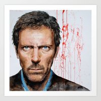 Hugh Laurie, House Art Print