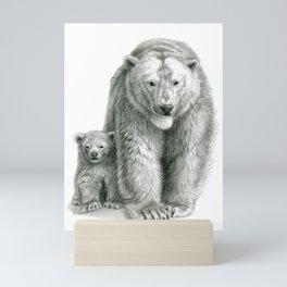 Polar bear and cub SK041 Mini Art Print