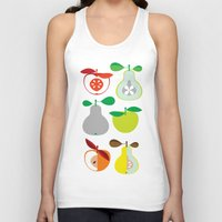 50s Tank Tops featuring Apples and Pears / Geometrical 50s pattern of apples and pears by In The Modern Era