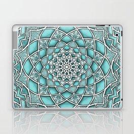 12-Fold Mandala Flower in Turquoise Laptop & iPad Skin