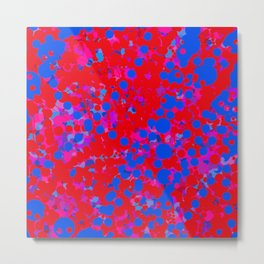 blue on red, circles Metal Print