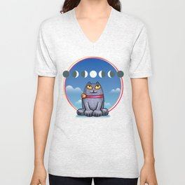 Cat looking at the moon Unisex V-Neck