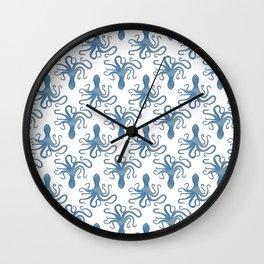 Octopus blue watercolor pattern - Lo Lah Studio Wall Clock