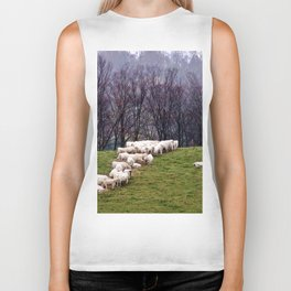 Cattle Eating Hay on a Hill Biker Tank