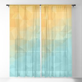 Golden Beach Wave Triangle Abstract Pattern Sheer Curtain