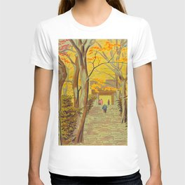 Asano Takeji Japanese Woodblock Print Vintage Mid Century Art Autumn Trees Shinto Shrine T-shirt