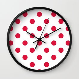 Polka Dots - Crimson Red on White Wall Clock