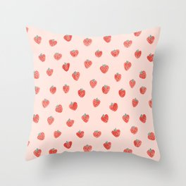 Strawberries on Pink Throw Pillow
