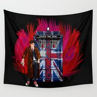 fandom Wall Tapestries featuring British Tardis with 10th Doctor who iPhone 4 4s 5 5c 6, pillow case, mugs and tshirt by Three Second