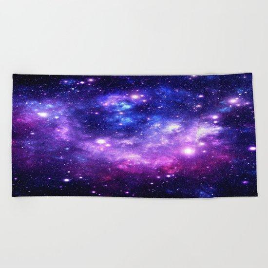 Purple Blue Galaxy Nebula Beach Towel