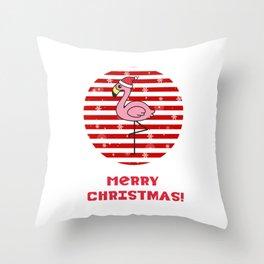 Merry Christmas Flamingo Throw Pillow