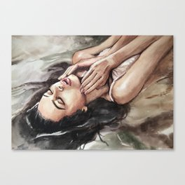 Watercolor hand-painted realistic young sexy woman in water illustration Canvas Print