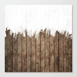 White Abstract Paint on Brown Rustic Striped Wood Canvas Print