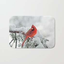 Cardinal on a Snowy Branch Bath Mat