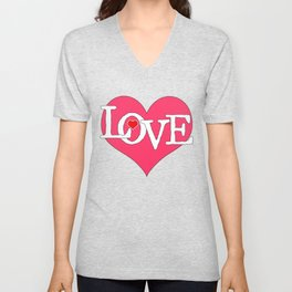 Pink Heart Filled with Love Unisex V-Neck