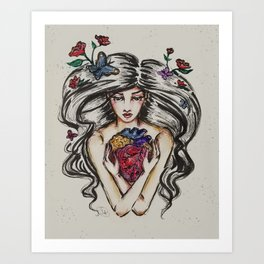 be still my beating heart anitomical love valentine tattoo brunette Art Print