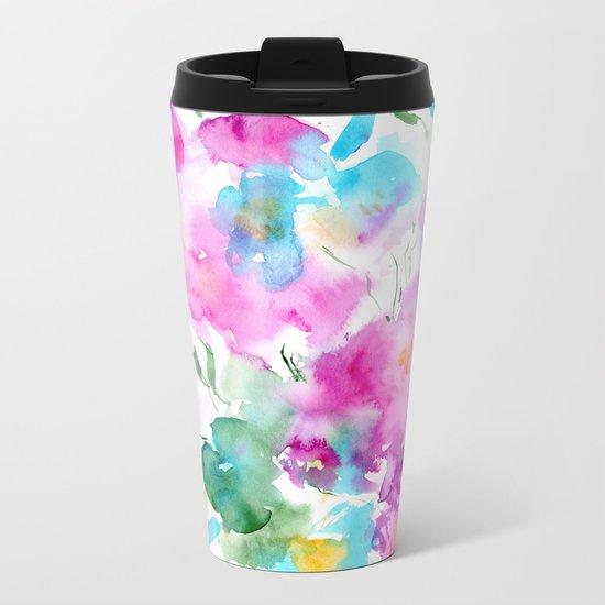 Floral abstraction #4 || watercolor Metal Travel Mug
