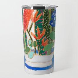 Nautical Striped Vase of Flowers Travel Mug
