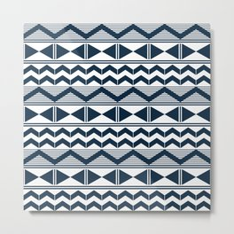 Navy blue and white geometry Metal Print