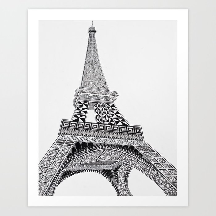 graphic relating to Printable Pictures of the Eiffel Tower titled Eiffel Tower zentangle Artwork Print by means of hollytipton