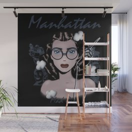 Manhattan Mad Girl portrait Wall Mural