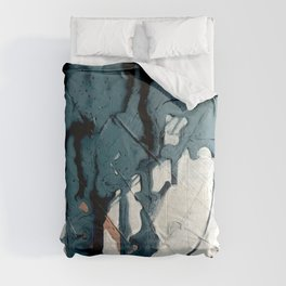Fortune[4]: A bold, minimal, abstract mixed-media piece in blue and black Comforters