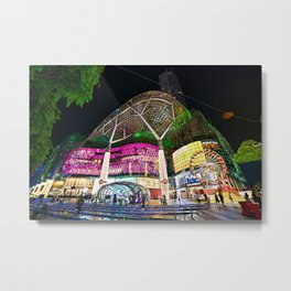 Christmas Glimmering Shopping Mall Full Frontage Metal Print