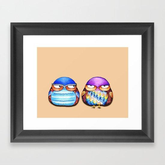 Grumpy Owls Framed Art Print